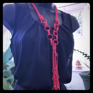 Coral seed bead tassel chain link long necklace